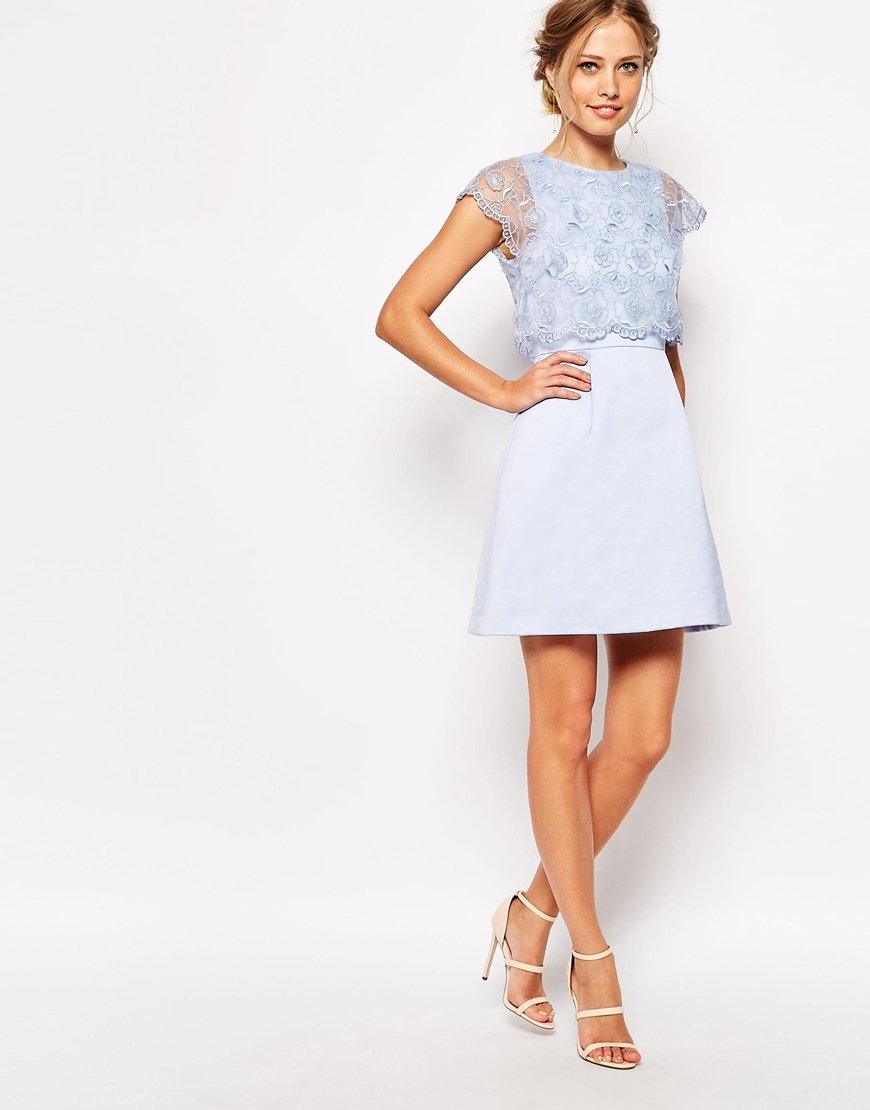 Lyst Ted Baker Dress With Vintage Floral Detail In Blue