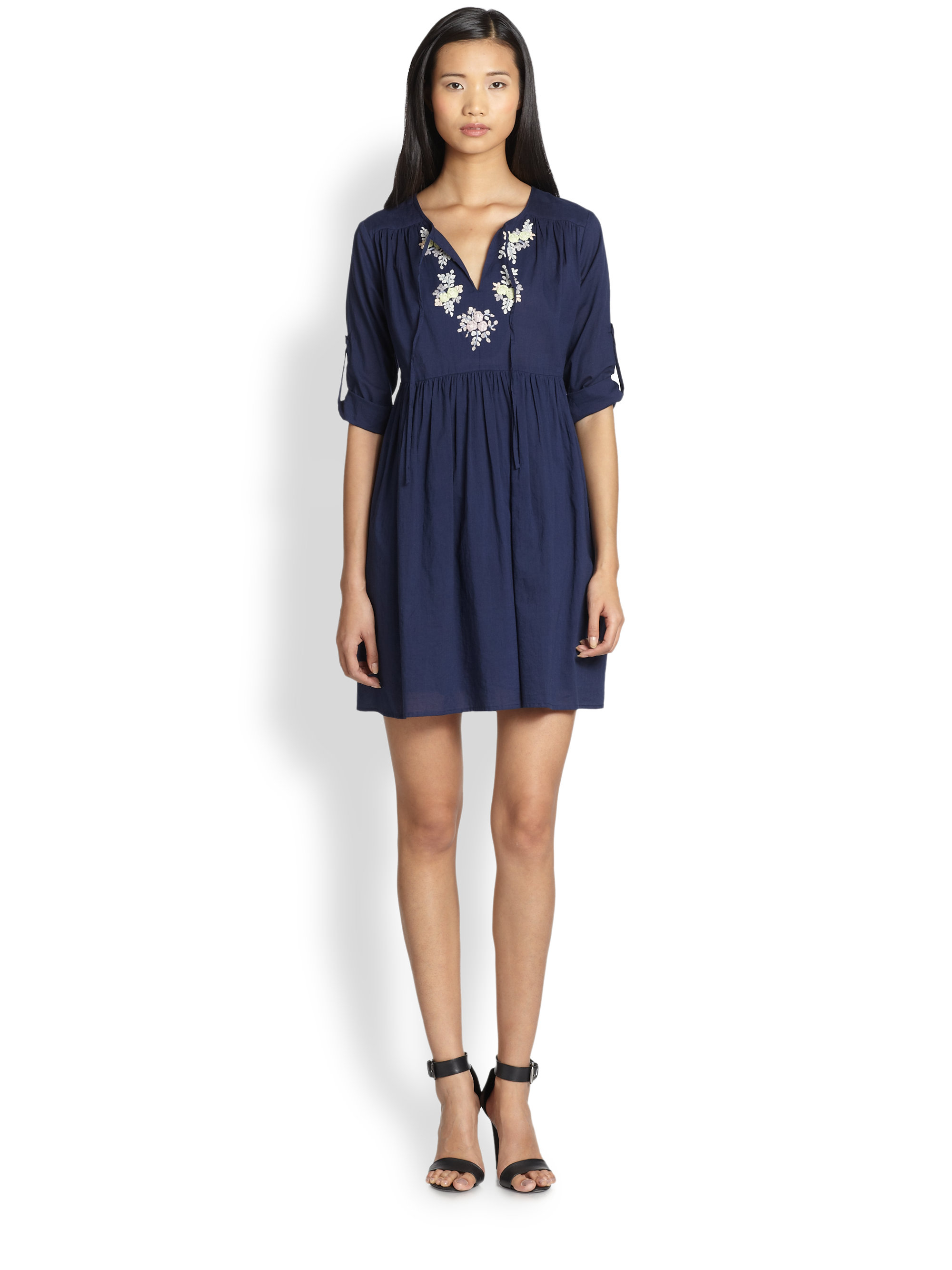 beyond vintage embroidered cotton dress in blue lyst