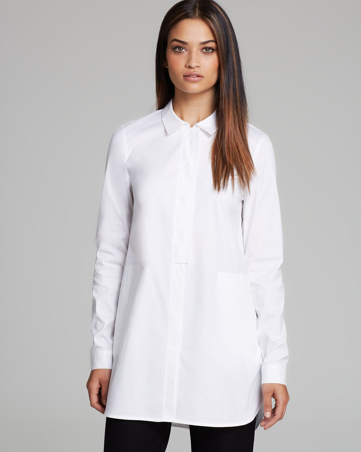 lafayette 148 new york suzzette blouse in white lyst