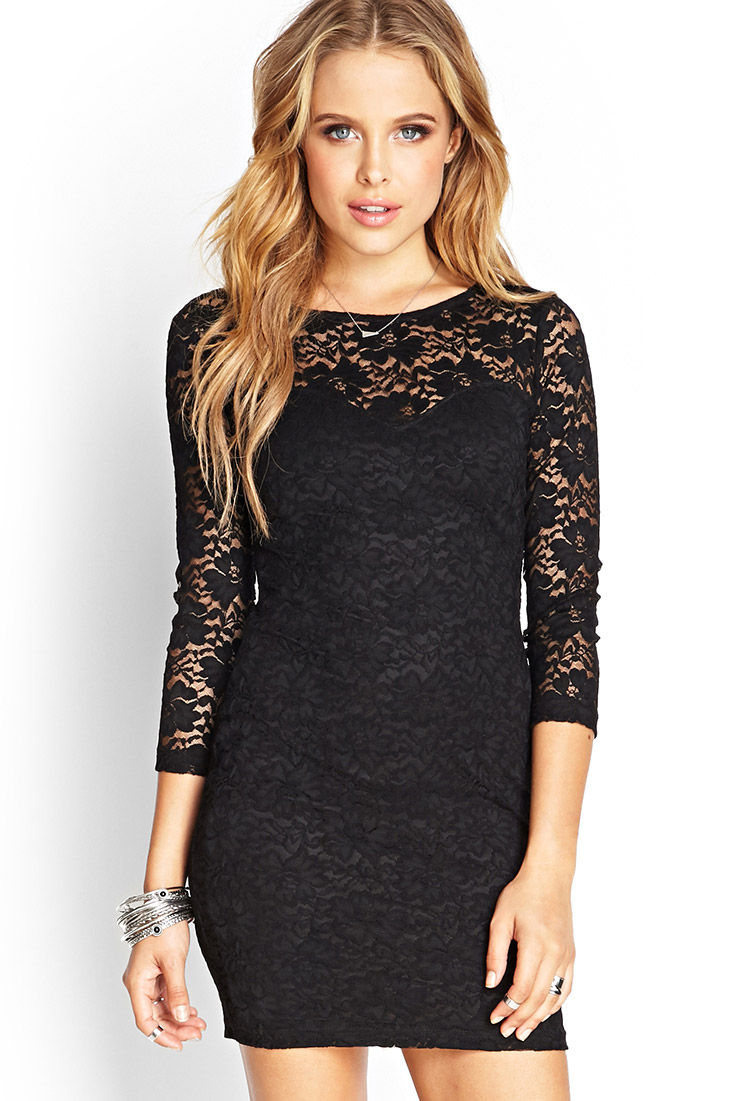 Forever 21 Floral Lace Sheath Dress in Black | Lyst