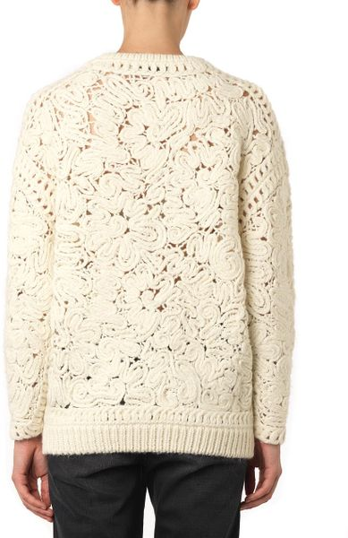 Stella Mccartney Crochet Embroidered Sweater In Beige