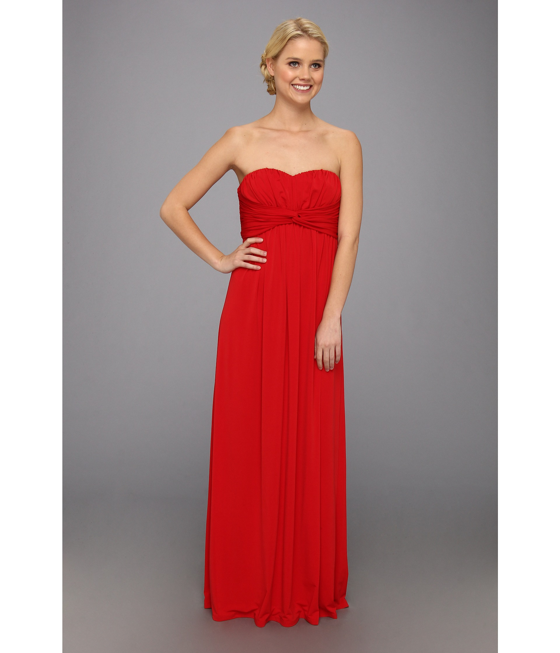 Lyst - Jessica Simpson Twist Bust Maxi Gown in Red
