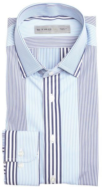 Etro blue and white striped cotton spread collar dress for Blue and white striped shirt with white collar
