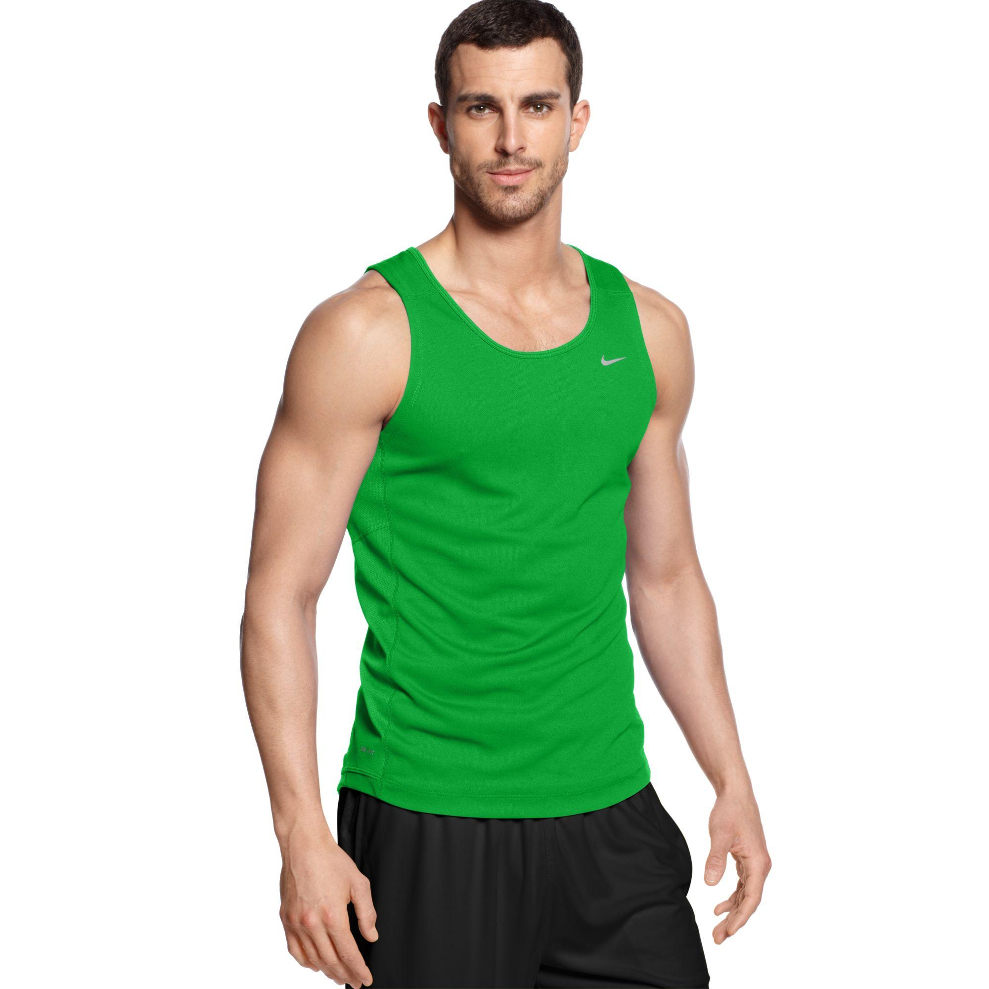d5a30e6e64fe1 Lyst - Nike Miler Running Singlet in Green for Men