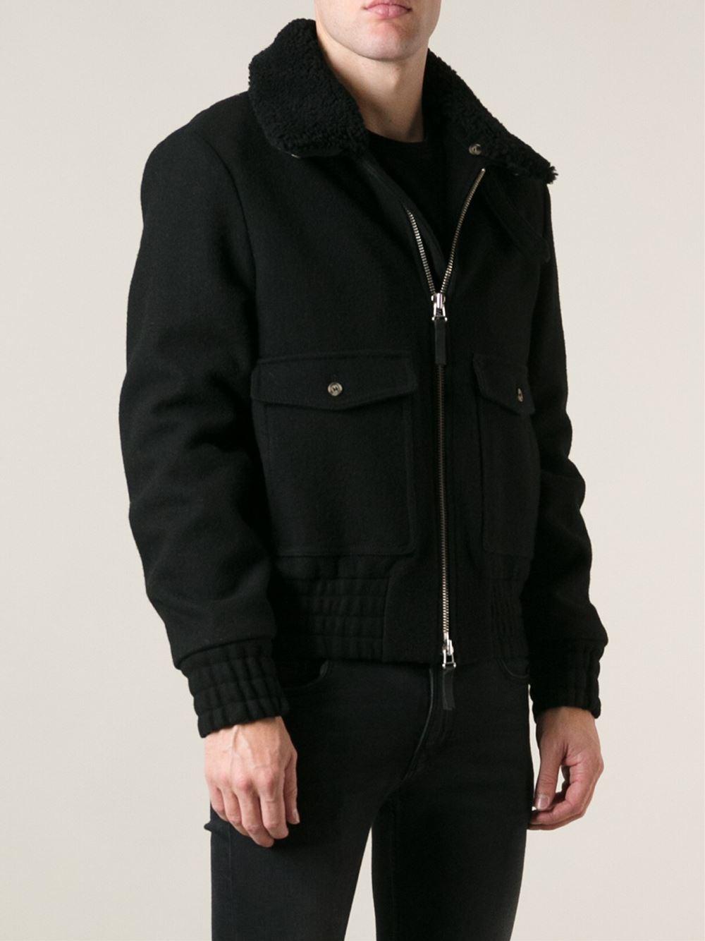 Ami Shearling Collar Jacket in Black for Men | Lyst