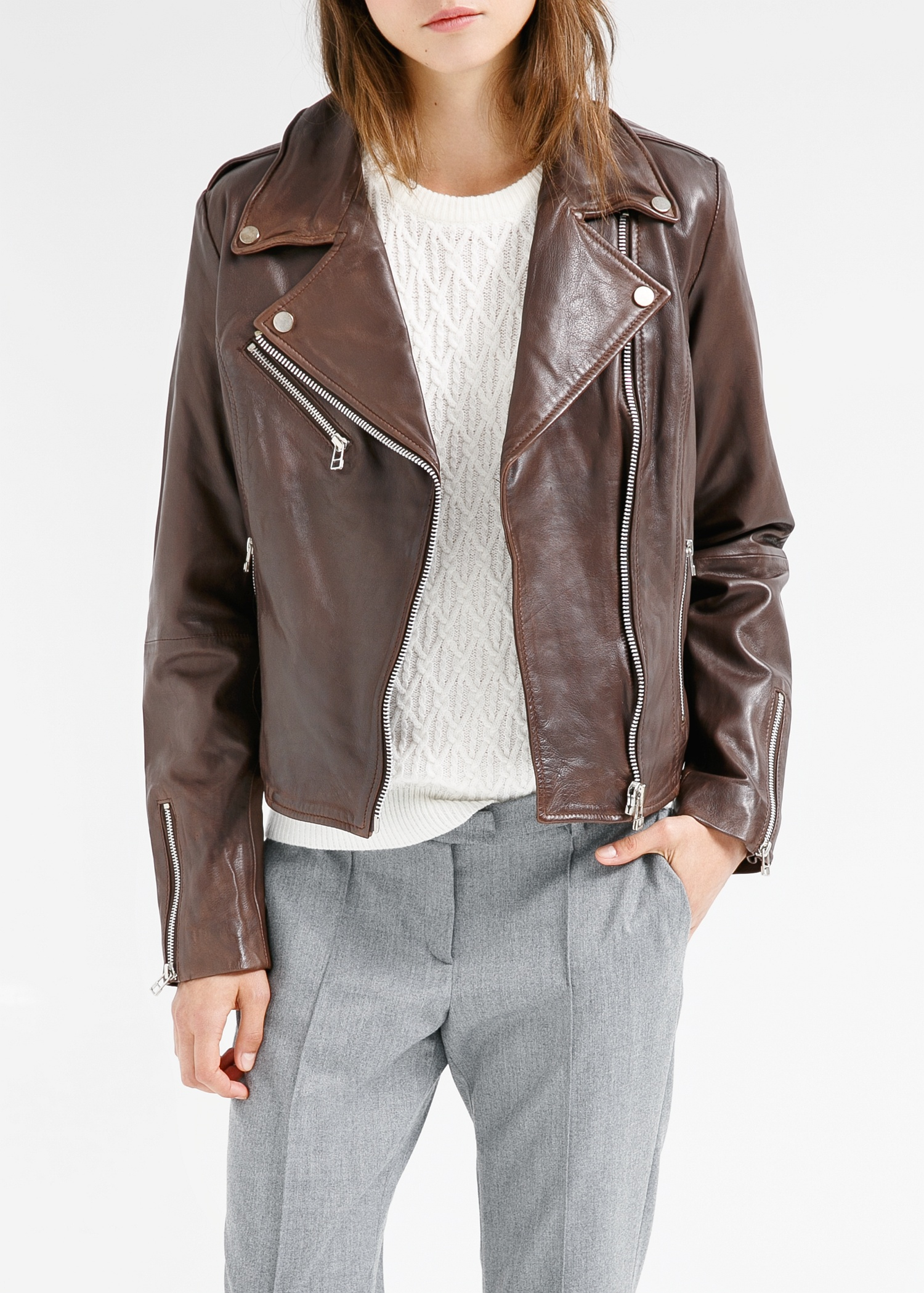 Chocolate Brown Leather Jacket - Jacket