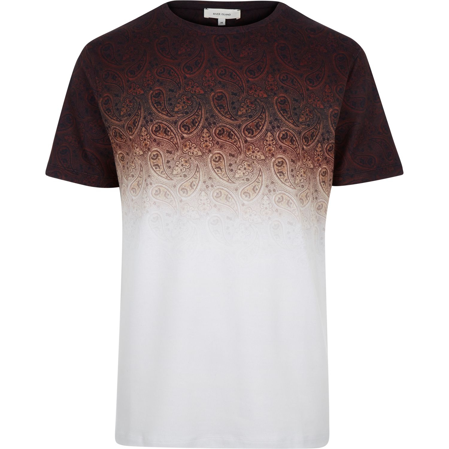 River island rust brown faded paisley print t shirt in for Faded color t shirts