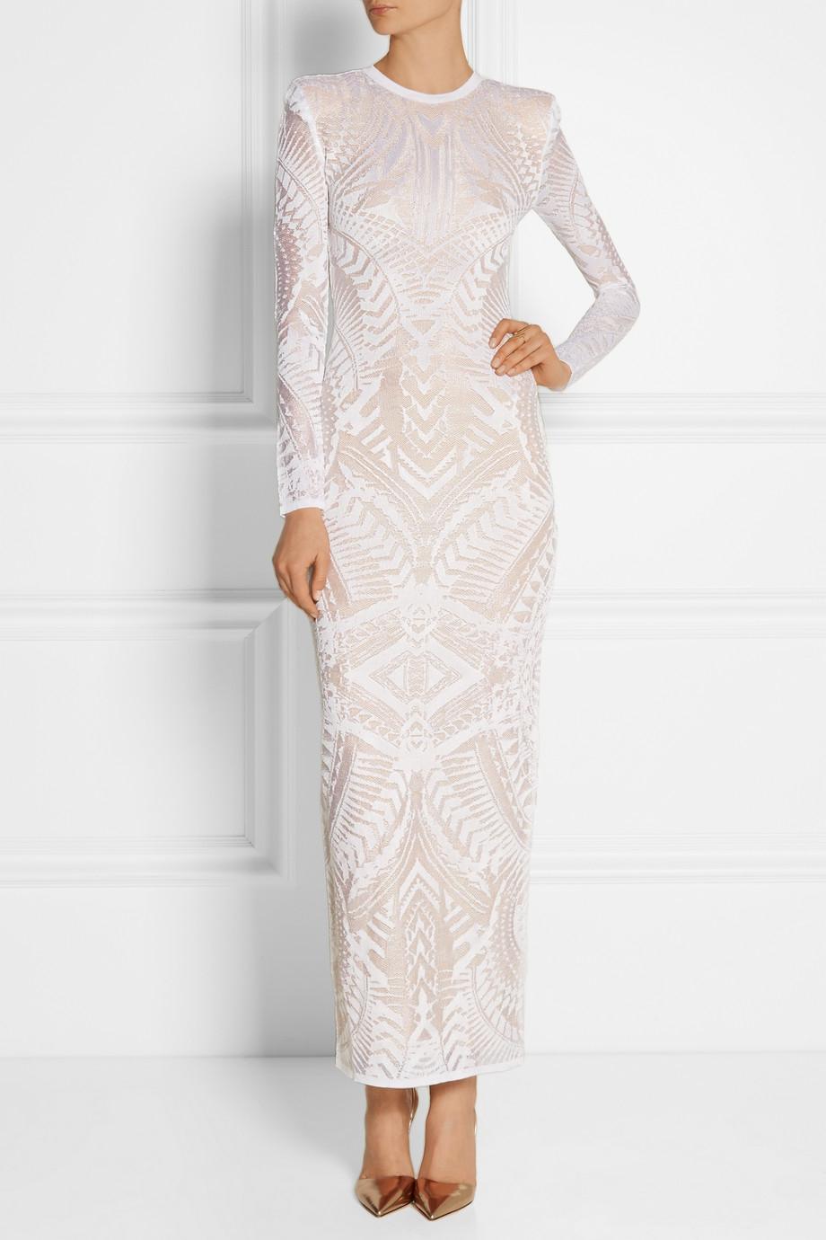 834a9dd8 Balmain Knitted Midi Dress in White - Lyst