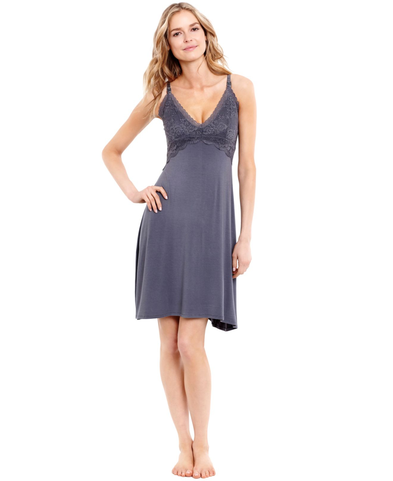 9647953c60b07 Jessica Simpson Maternity Lace Nursing Nightgown in Gray - Lyst