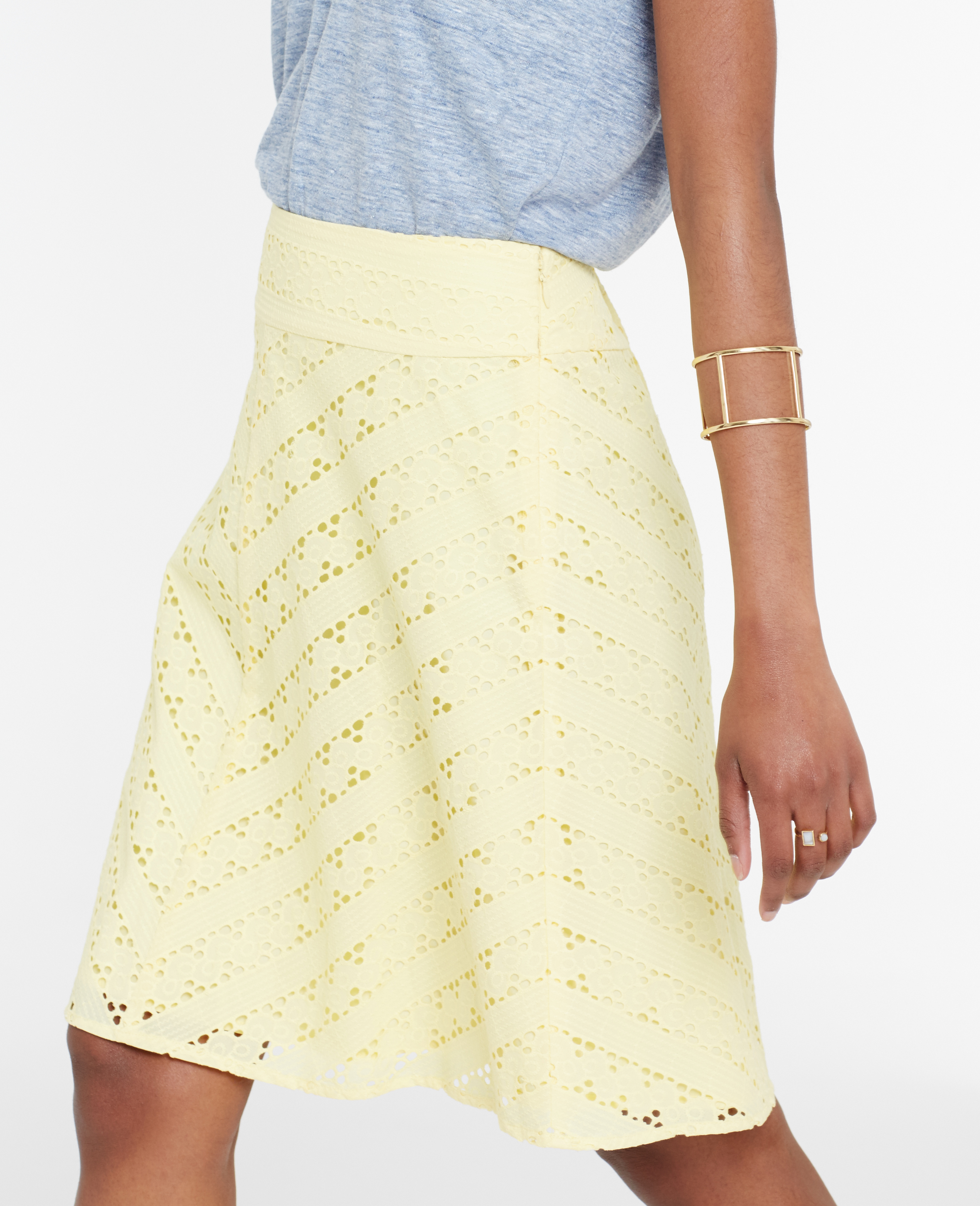 0ee832fda7 Ann Taylor Petite Chevron Eyelet Skirt in Yellow - Lyst