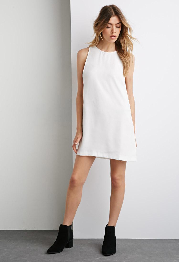 1f30bd65ac Lyst - Forever 21 Side Zipper Shift Dress in White