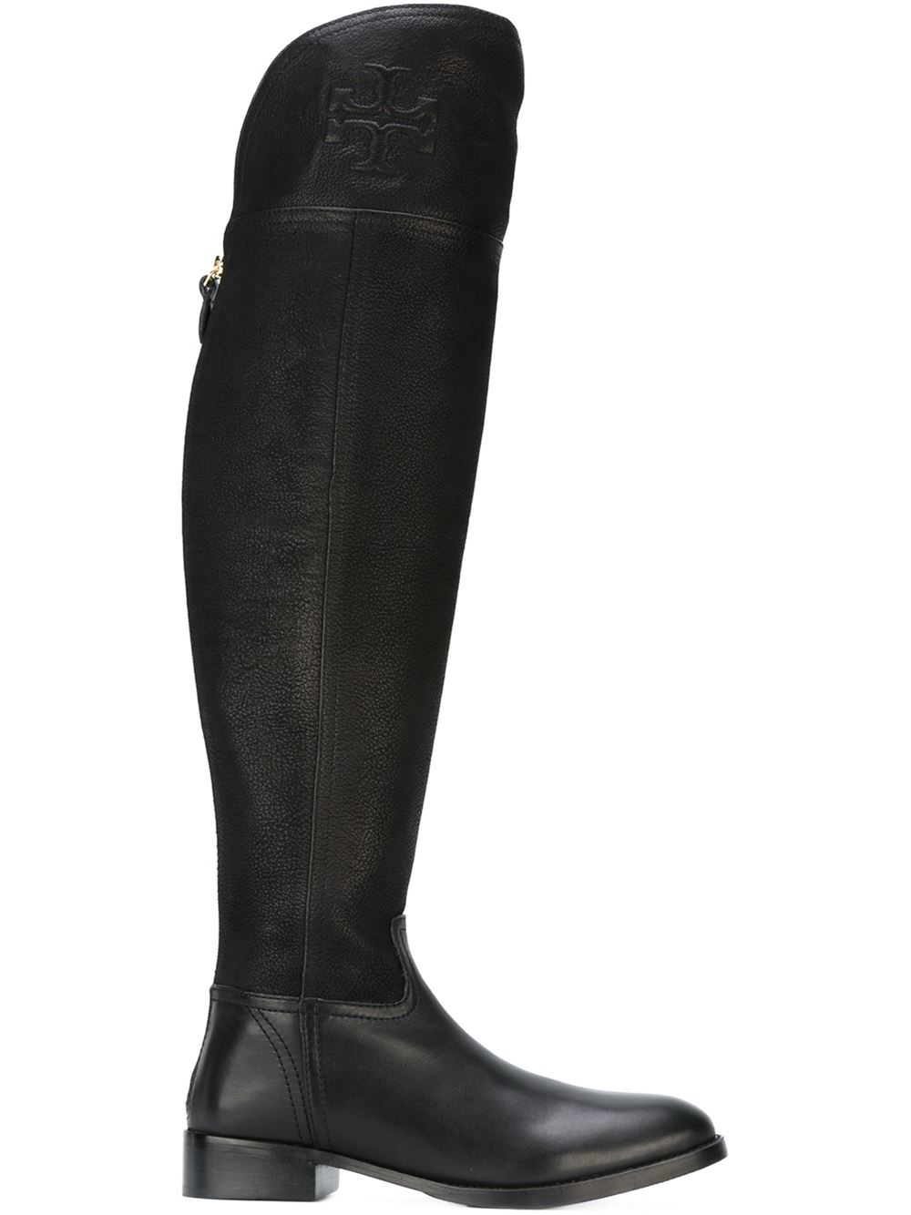 7335ce5dc3f Lyst - Tory Burch Embossed Logo Knee-high Boots in Black