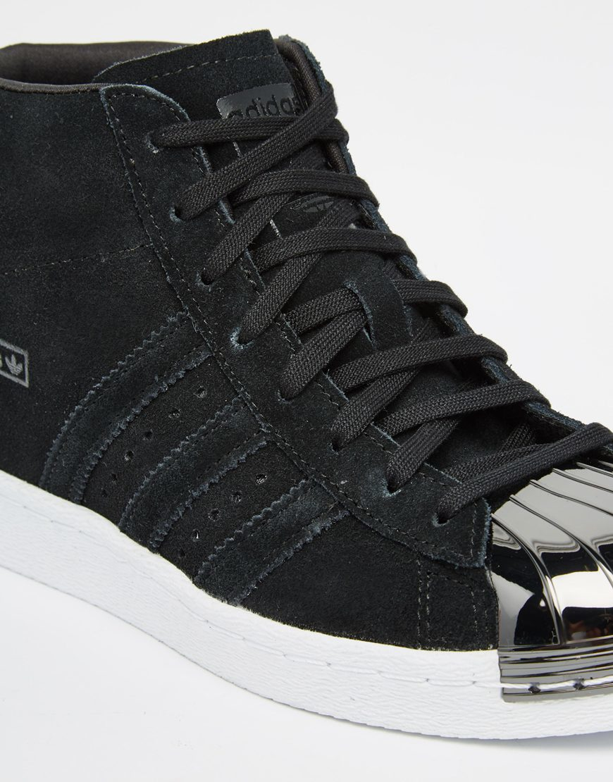 1205c1491fb39e Lyst - adidas Originals Originals Black Suede Superstar Up Metal Toe ...