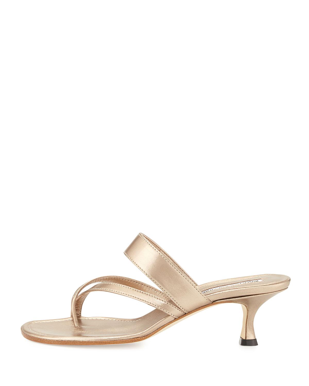 7fd0564f46f3 Lyst - Manolo Blahnik Susa Low-heel Thong Slide Sandal in Metallic