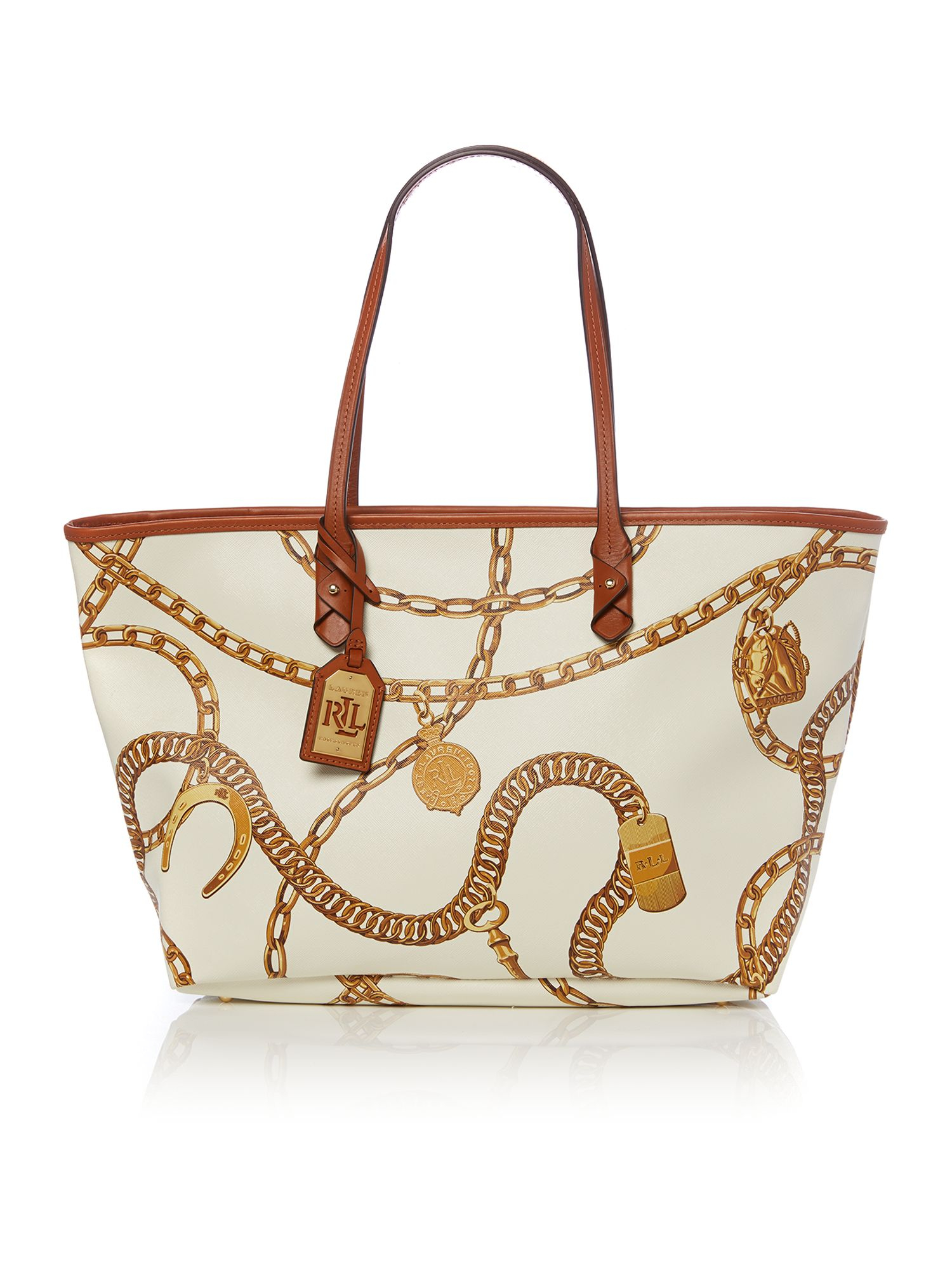 7cccbe9df4 ... best lauren by ralph lauren halstead white large tote bag in brown lyst  b0d03 8709c