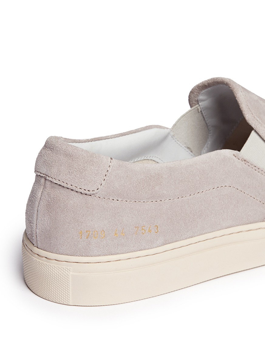 30820911ae02 Common Projects Suede Grey Slip Ons in Gray for Men - Lyst