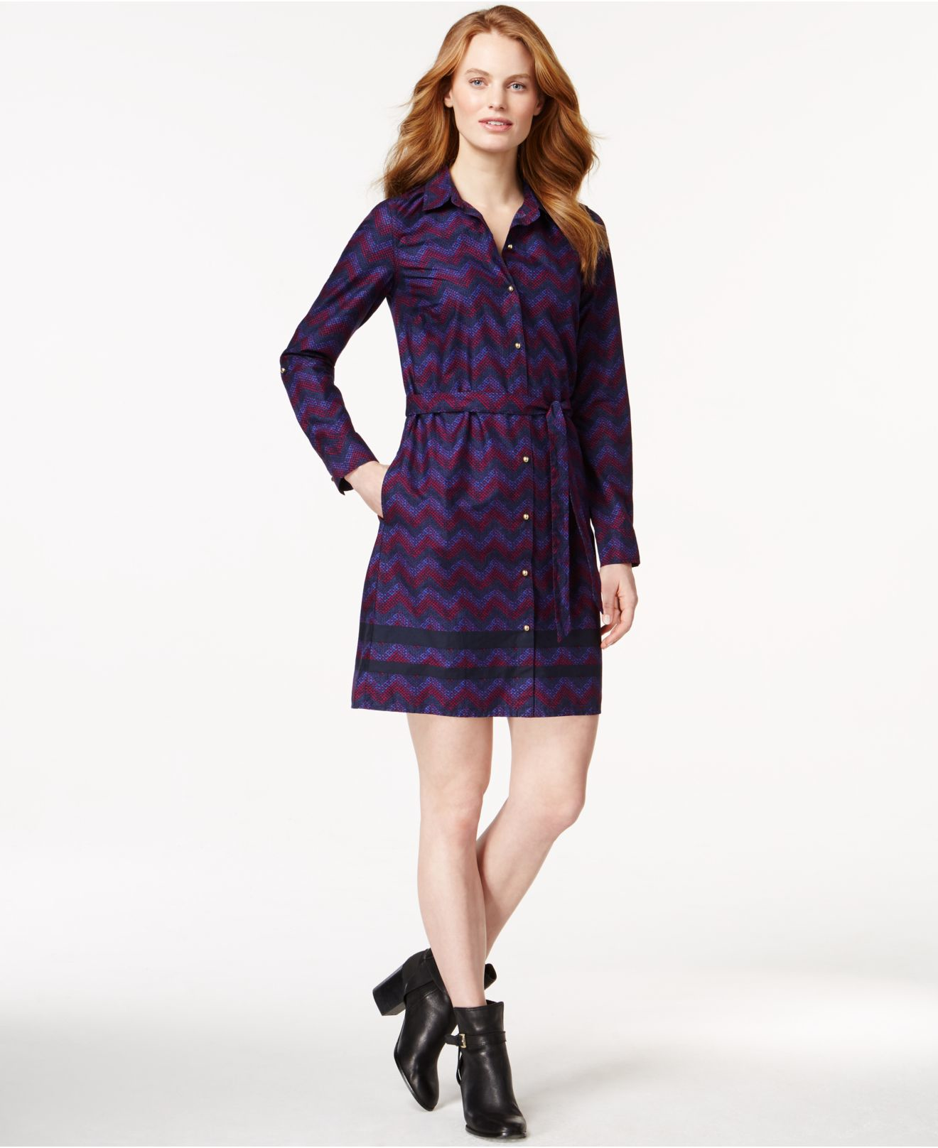 42b6fa0de7 Lyst - Tommy Hilfiger Belted Chevron-print Shirt Dress in Blue