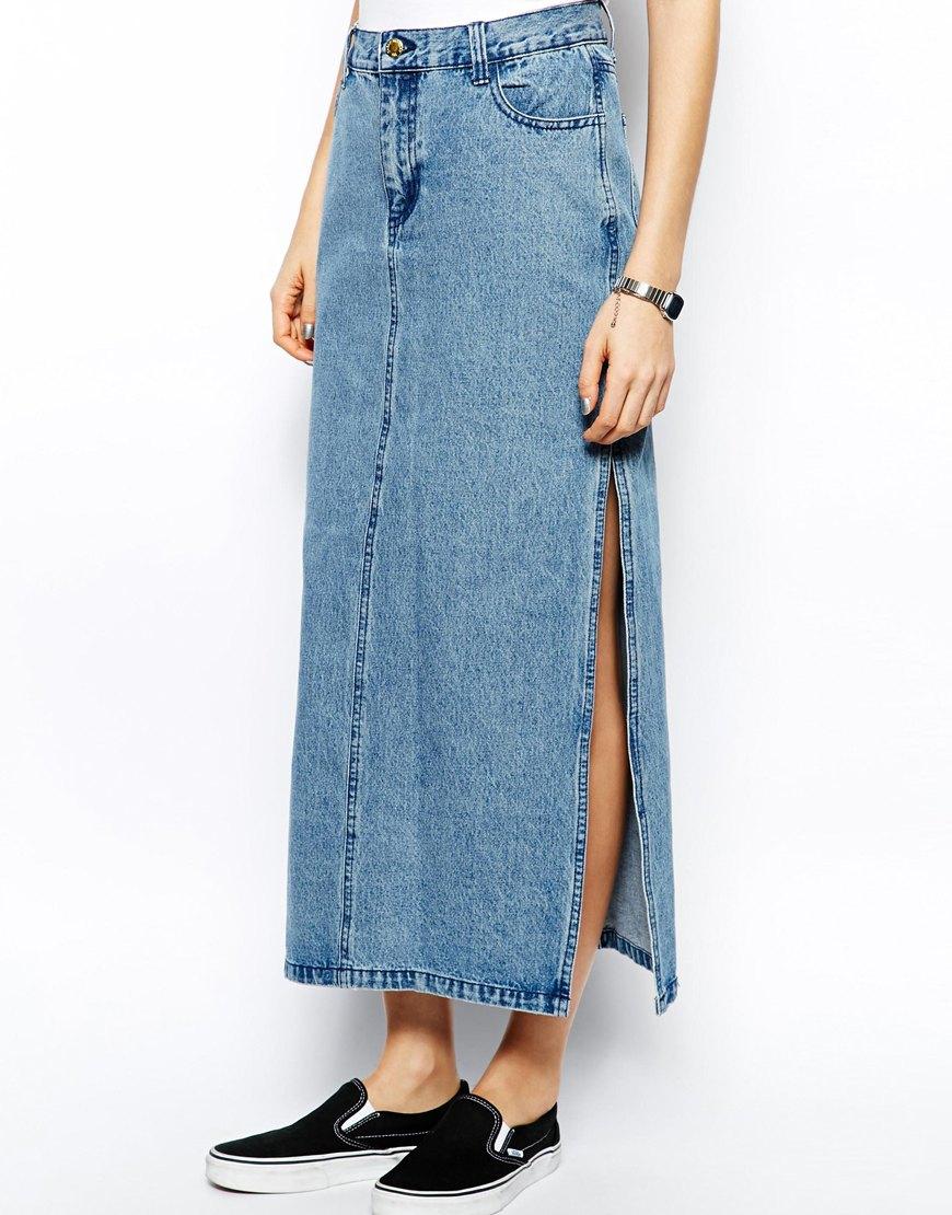 Cheap monday Denim Maxi Skirt in Blue | Lyst