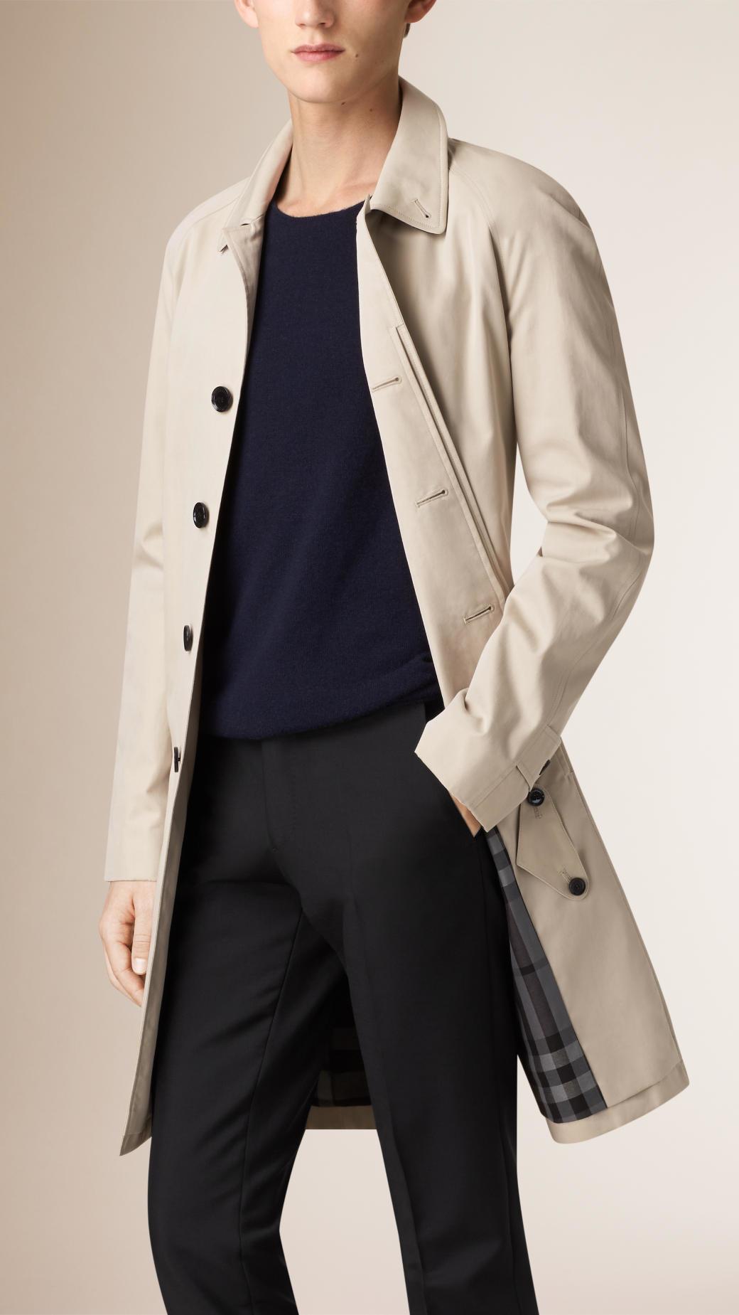 Burberry Long Cotton Gabardine Car Coat Trench in Natural for Men ...