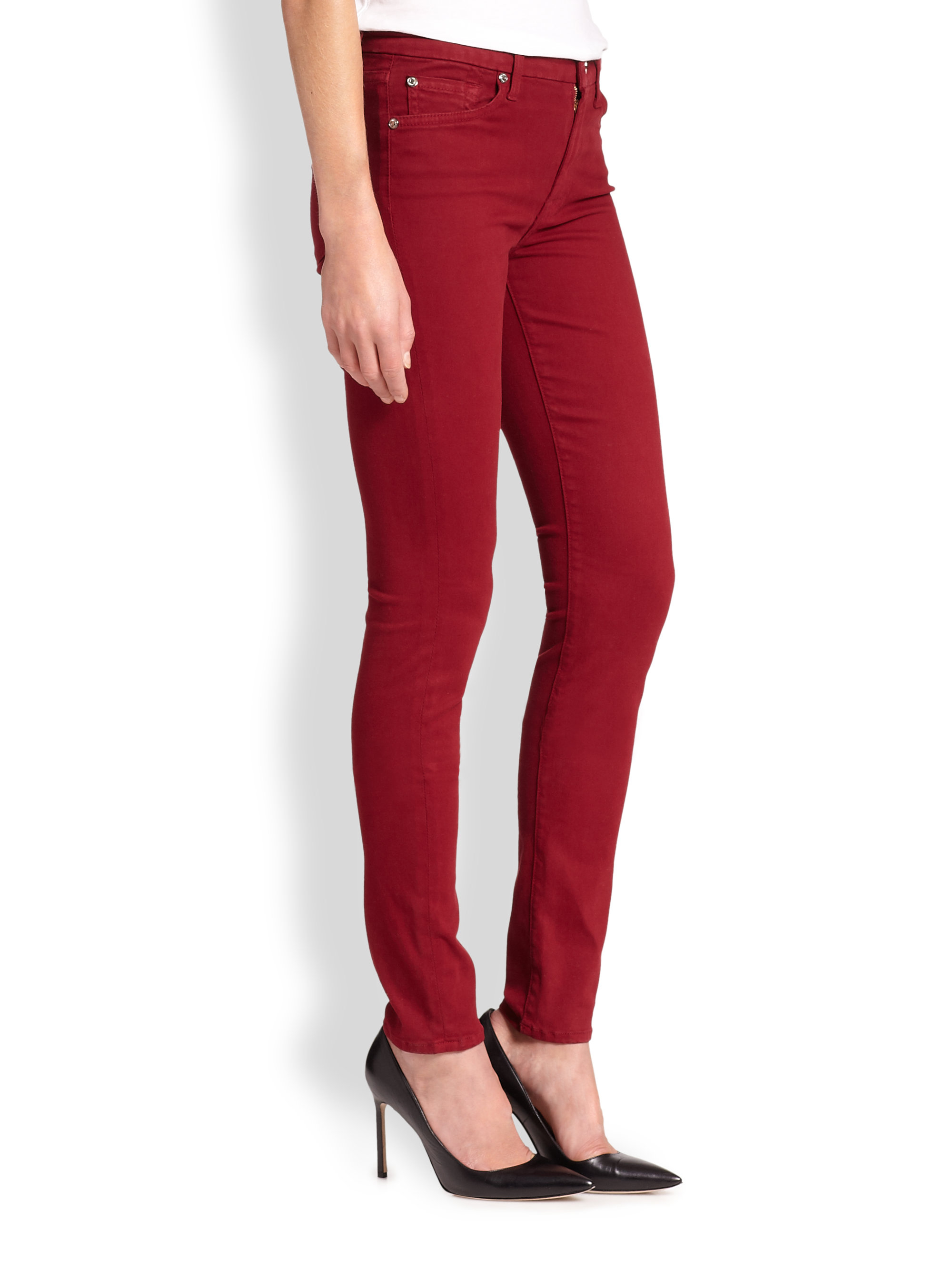 7 for all mankind Brushed Sateen Skinny Jeans in Red | Lyst