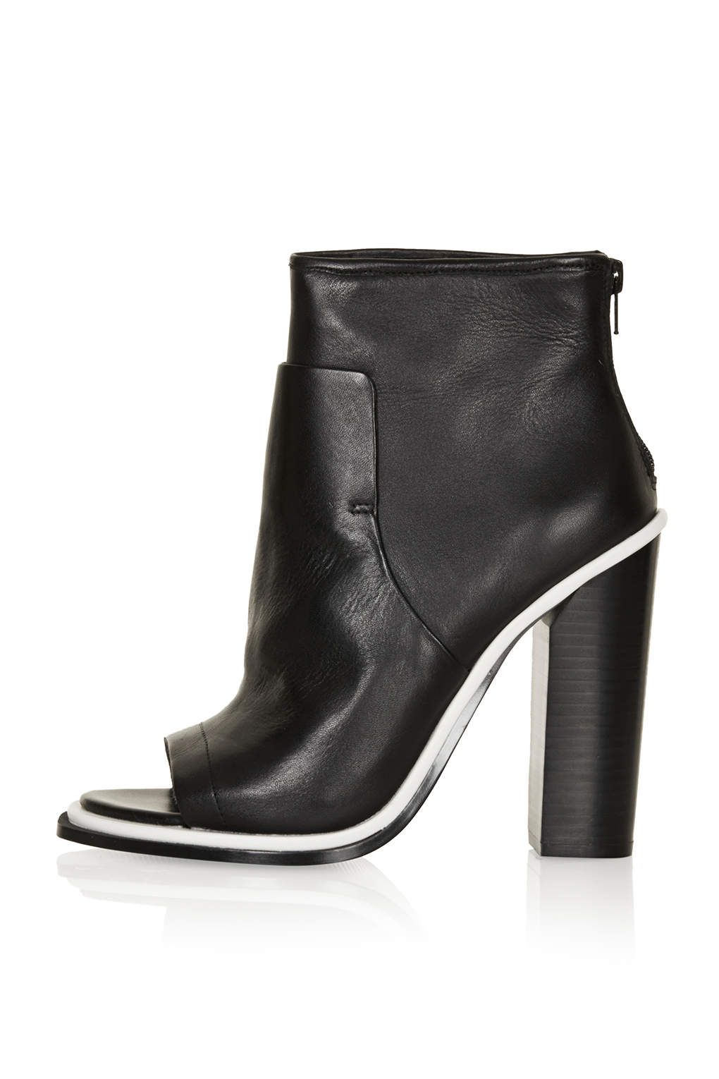 Lyst Topshop Pounce Premium Peep Toe Boots In Black