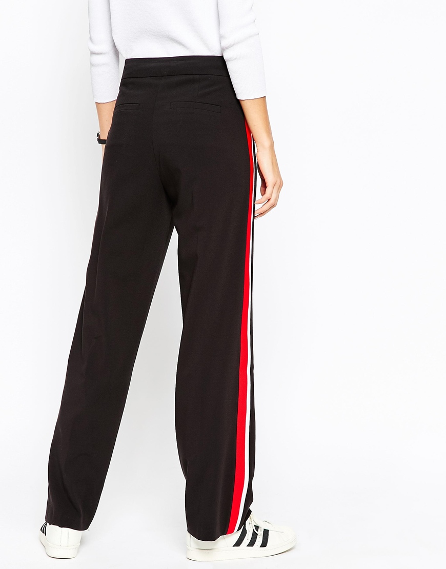 Asos Wide Leg Trouser With Side Stripe Black In Black Lyst