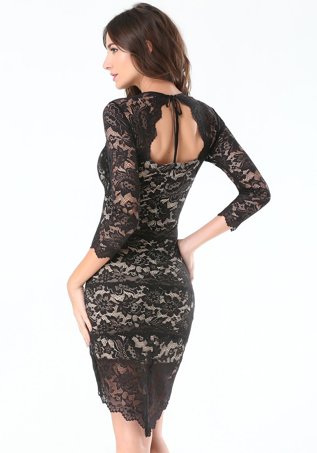 Black lace long sleeve dress bebe