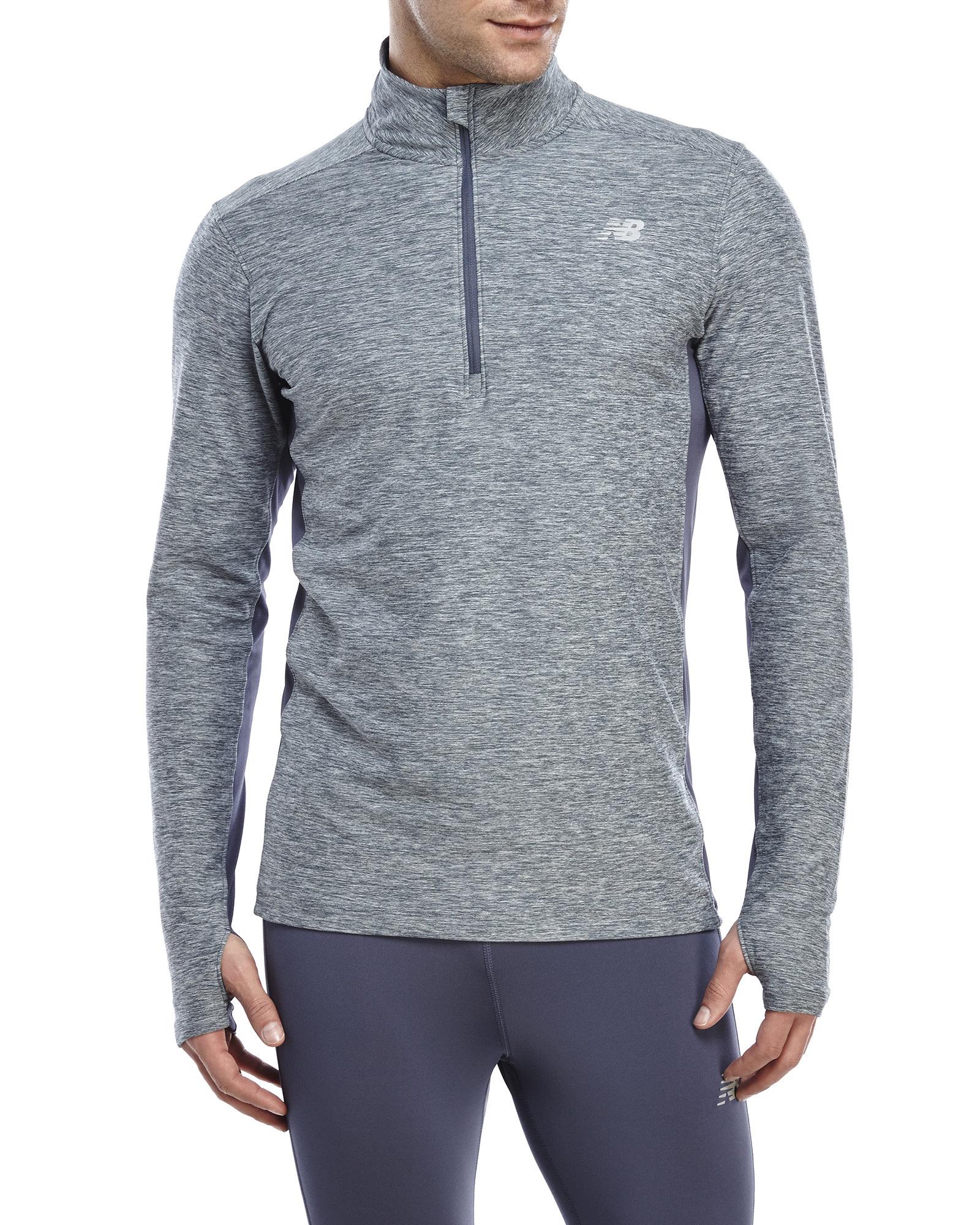 New Balance Lightweight Tech Quarter Zip Pullover in Gray