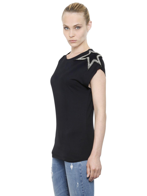 e99135958c7ea Lyst - Balmain Star Embellished Cotton Jersey T-shirt in Black