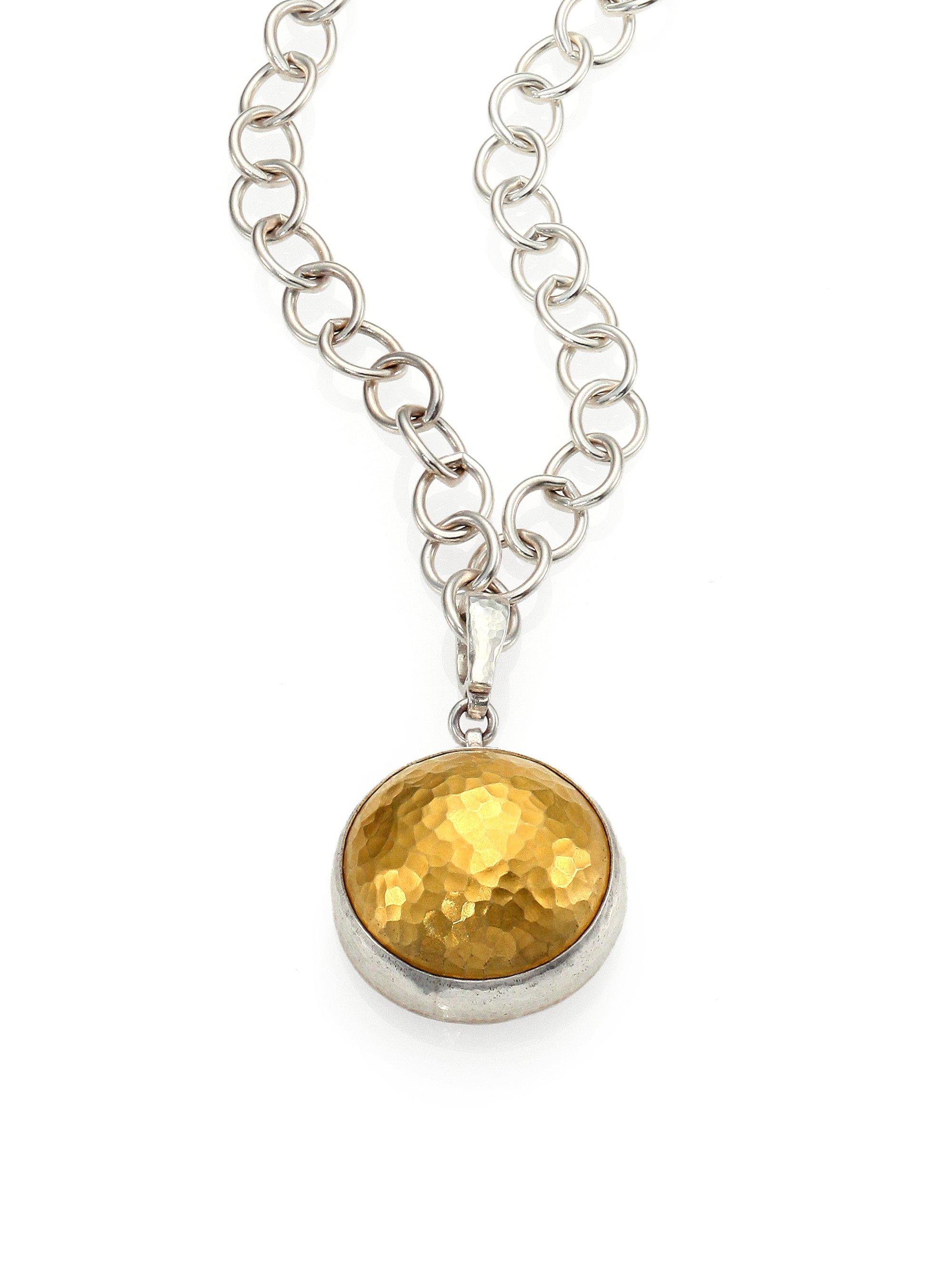 Amulet Jewelry Pendants Sothon: Gurhan Amulet Sterling 24k Yellow Gold Dome Pendant