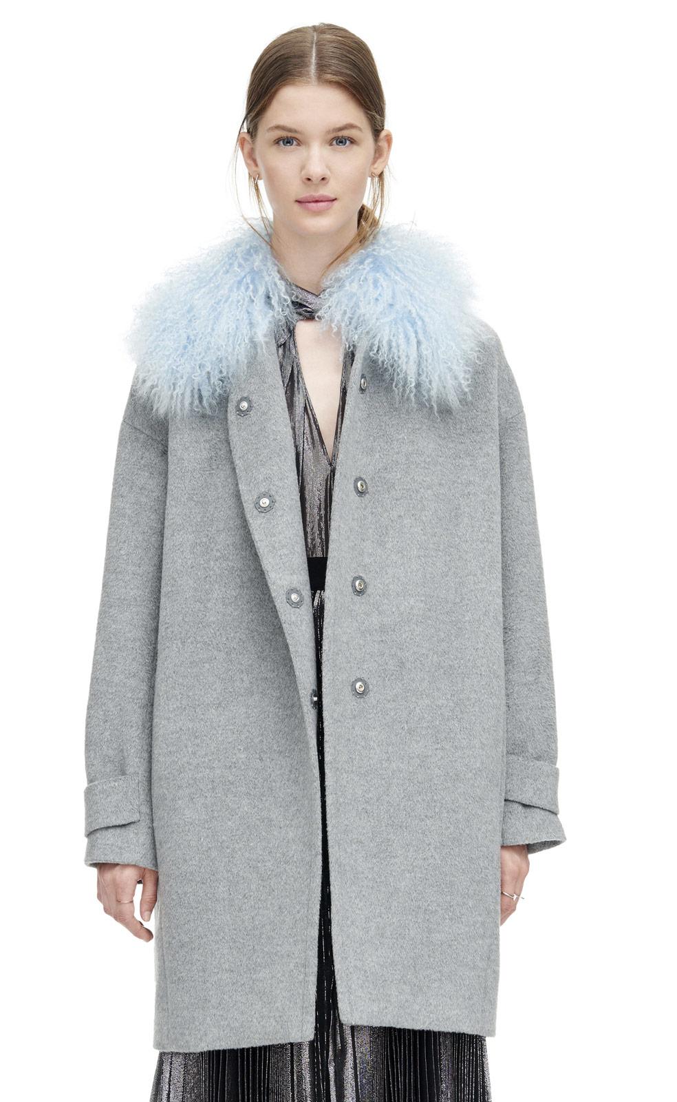 Rebecca taylor Wool Shearling Cocoon Winter Coat in Gray | Lyst