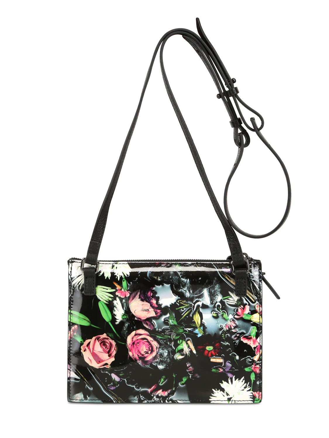 a9213d5aedc3 Lyst - McQ Floral Printed Leather Shoulder Bag in Black