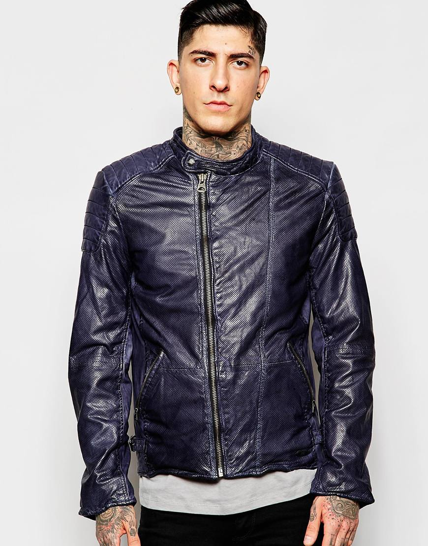scotch soda classic leather jacket in blue for men lyst. Black Bedroom Furniture Sets. Home Design Ideas