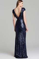 Badgley Mischka Gown Cap Sleeve Open Cowl Back - Lyst