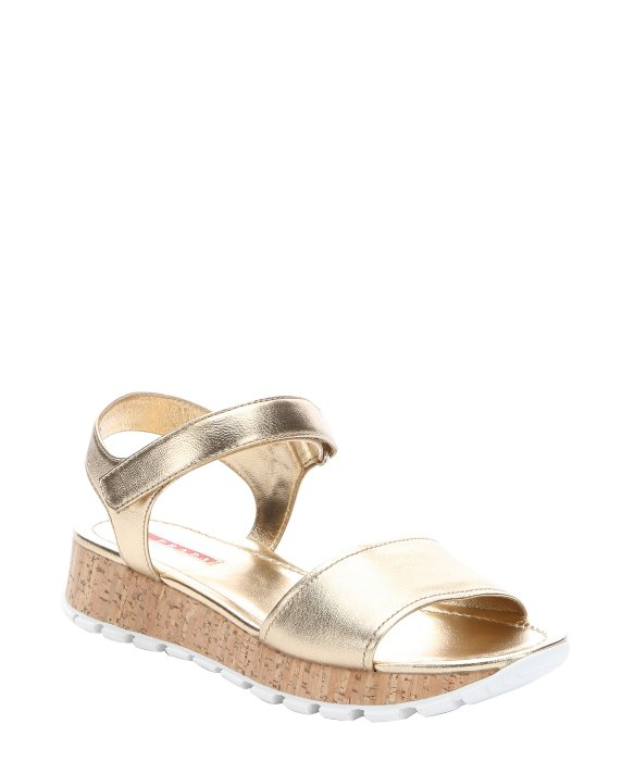 recommend online Prada Sport Metallic Platform Wedge Sandals clearance amazing price from china low shipping fee SnaKG30
