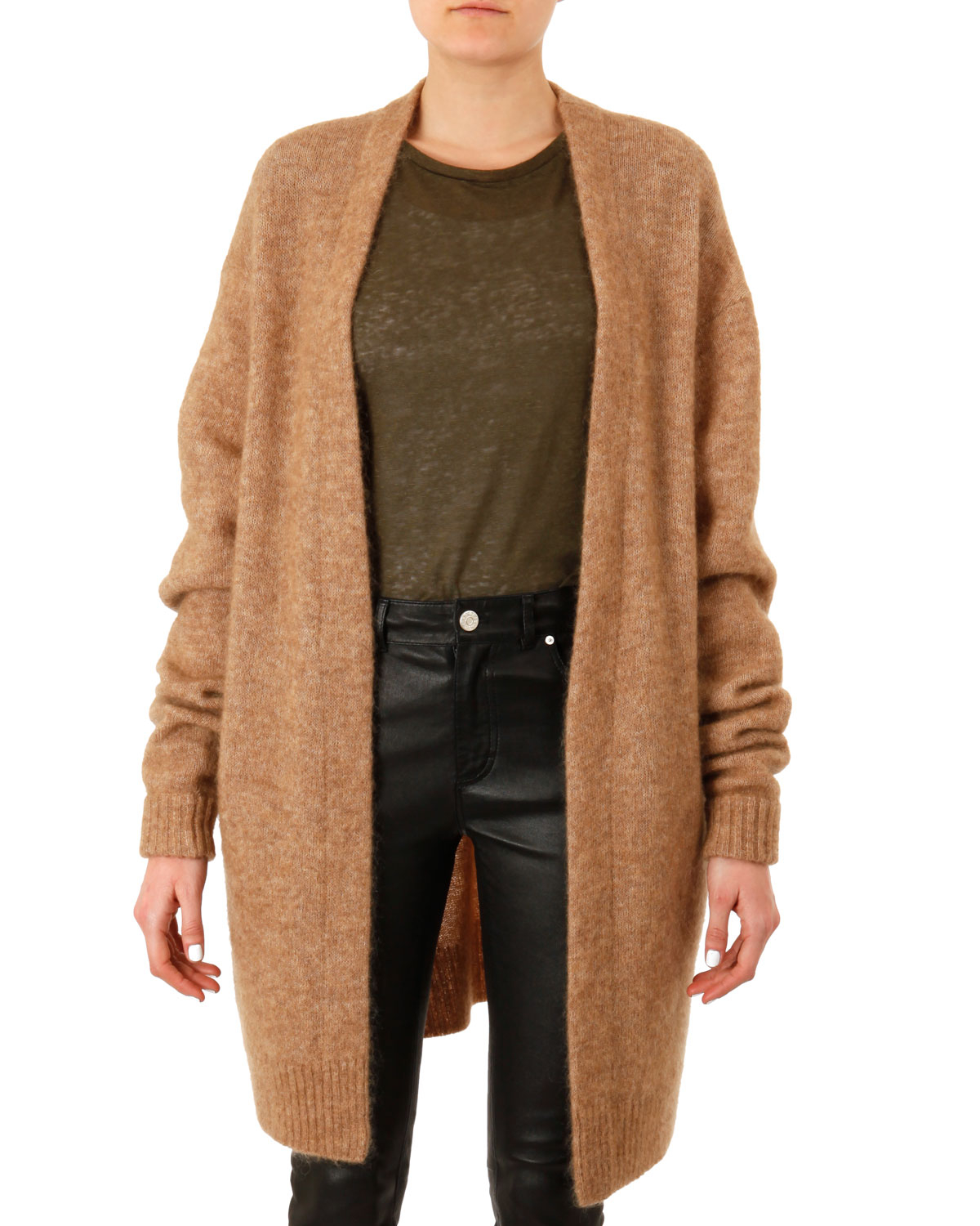 Acne studios Raya Oversized Knit Cardigan in Brown | Lyst