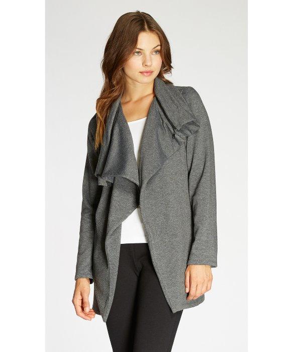 Bobeau Fleece Waterfall Jacket in Gray | Lyst