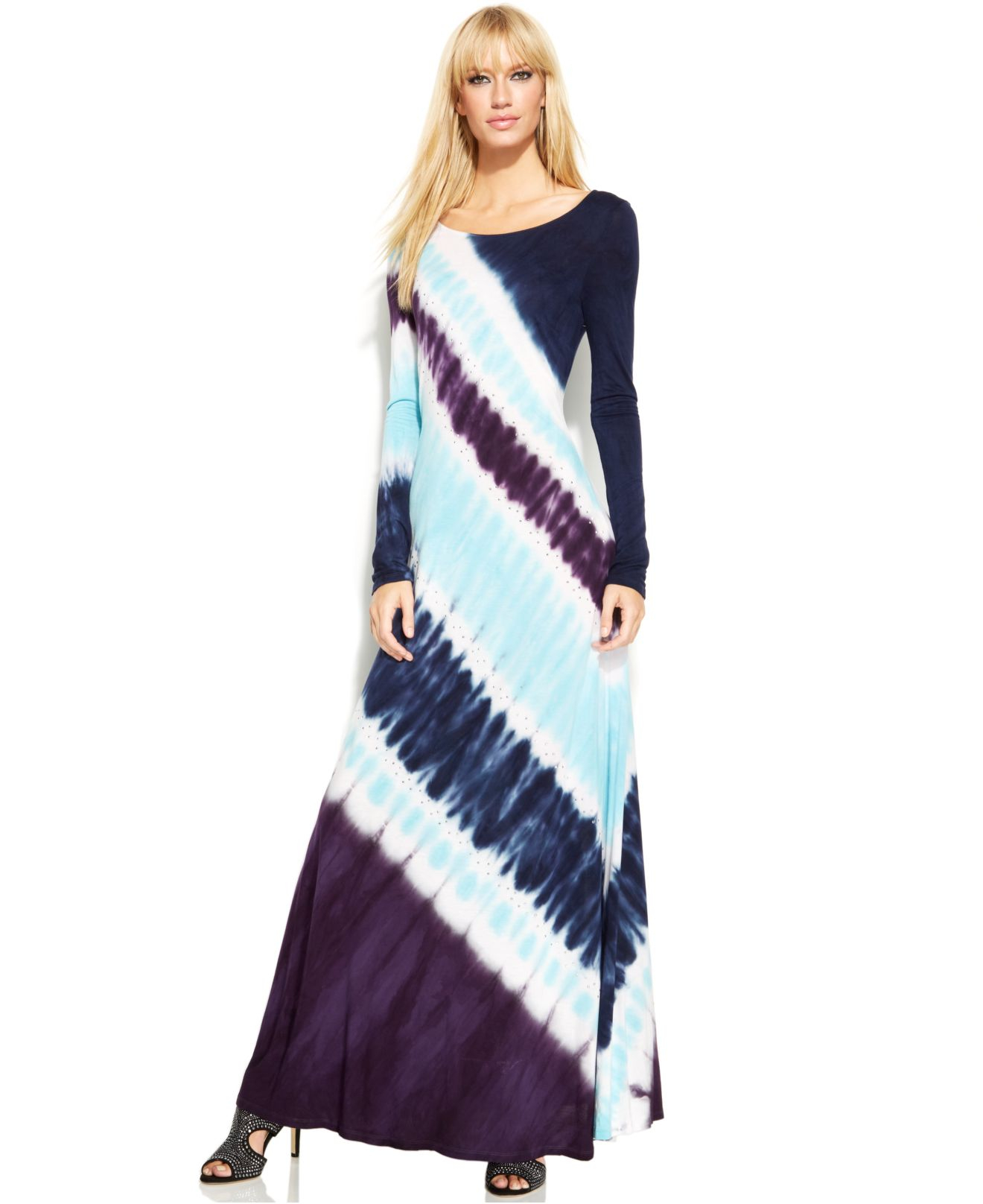 Inc international concepts Long-Sleeve Tie-Dye Maxi Dress | Lyst