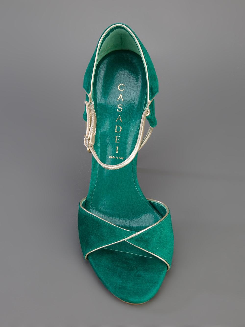 Casadei Open Toe Sandal In Green Lyst