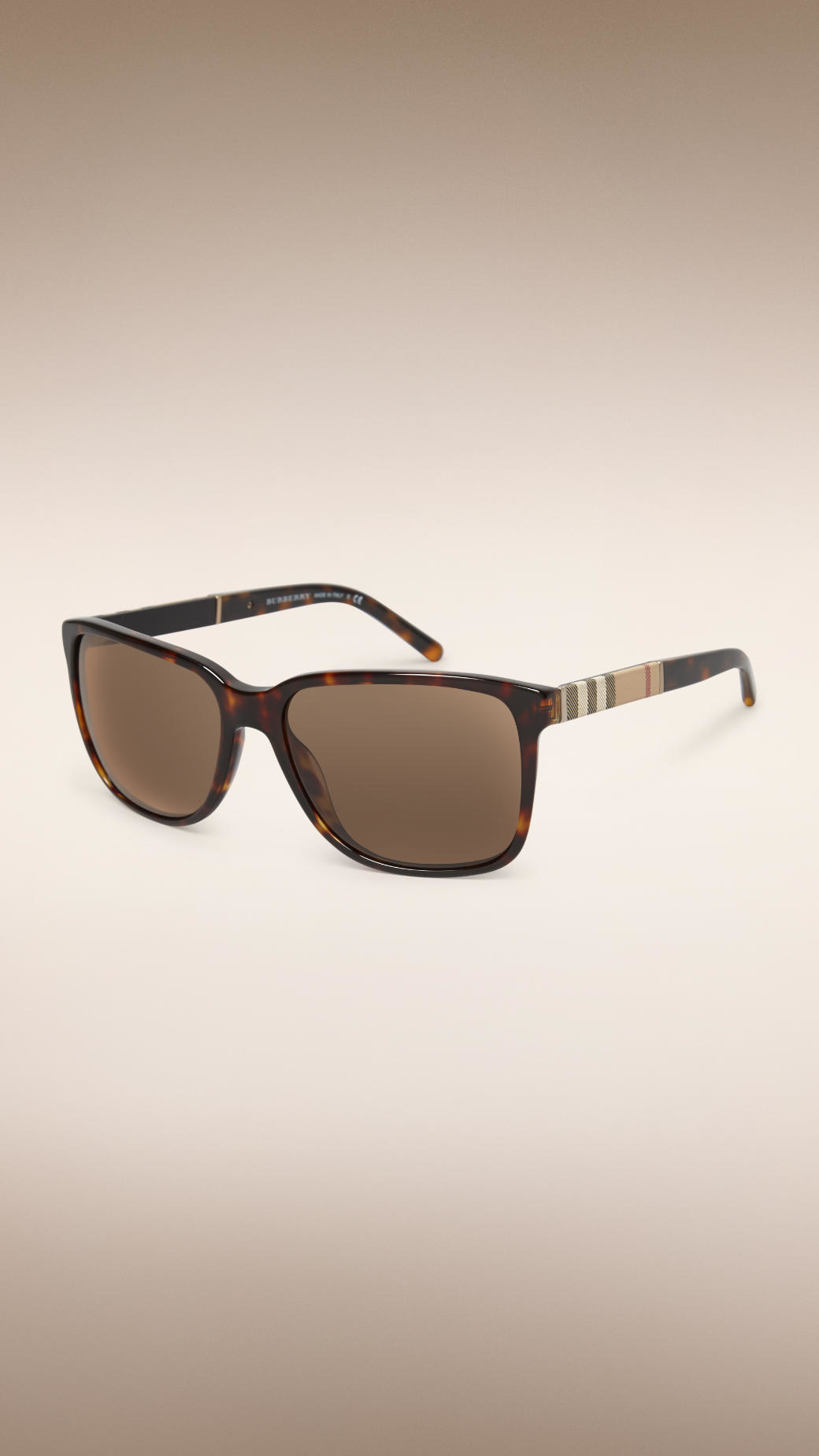d4a9ca833cb Lyst - Burberry Square Frame Check Detail Sunglasses in Brown for Men