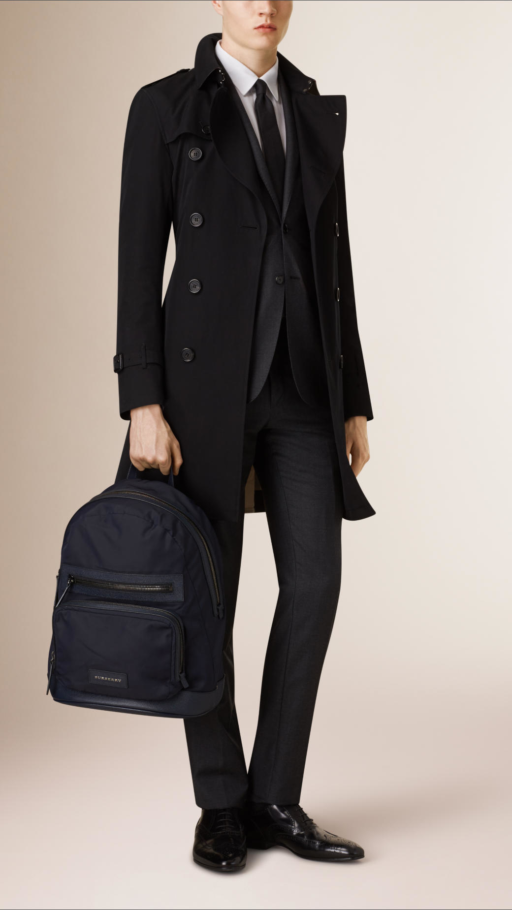 Burberry Leather Detail Nylon Backpack