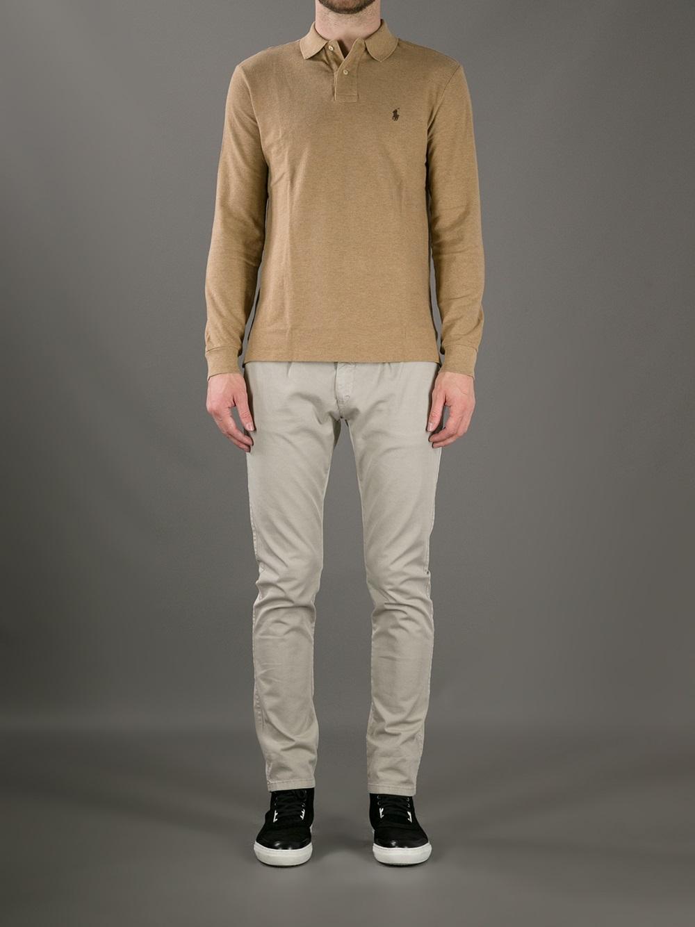 Lyst Polo Ralph Lauren Long Sleeve Polo Shirt In Brown