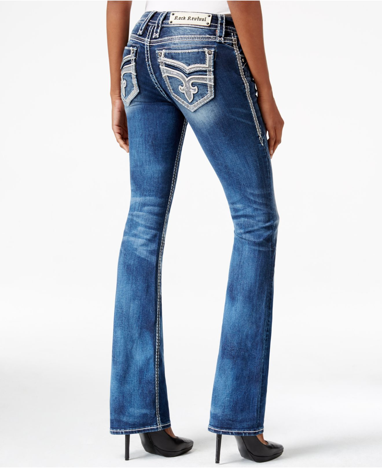 Lyst - Rock Revival Vika Bootcut Medium Blue Wash Jeans in ...