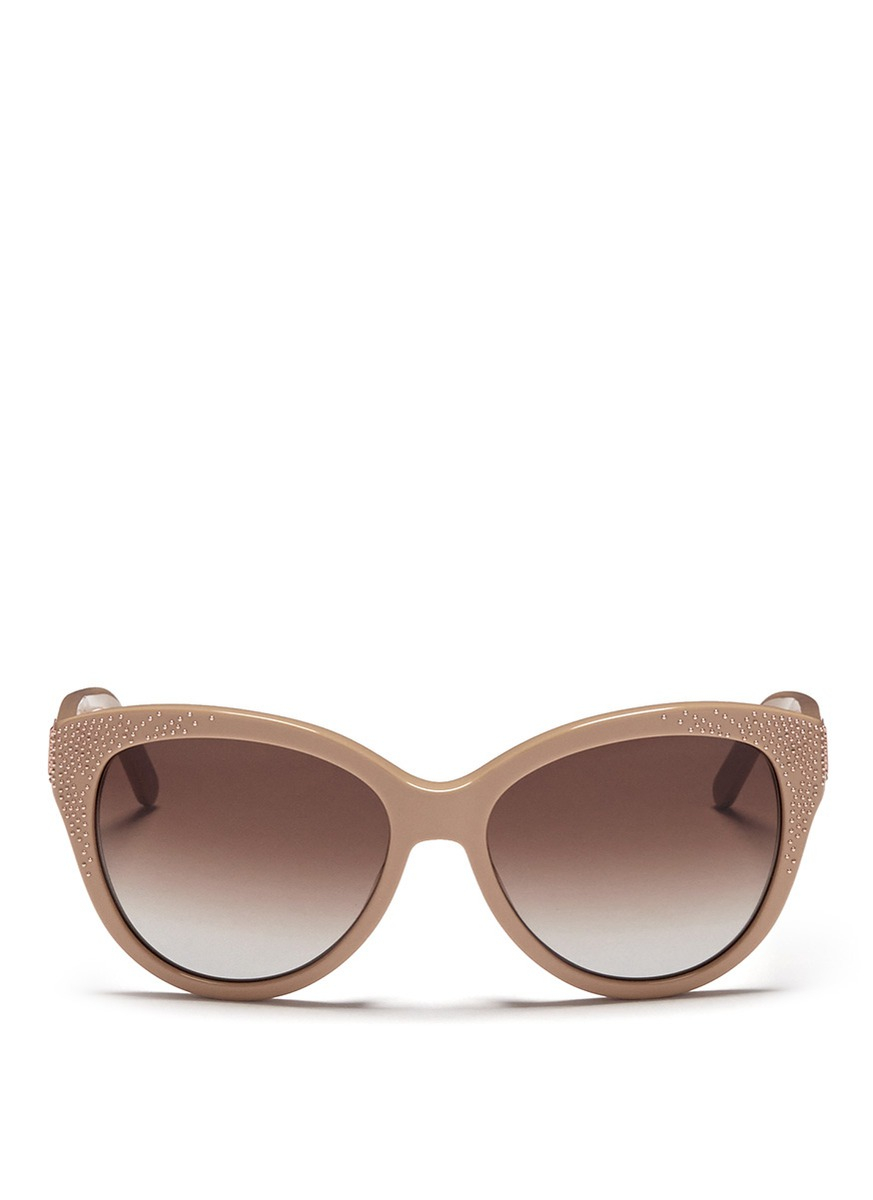 Chloé 'Suzanna' Stud Cat Eye Sunglasses in Natural