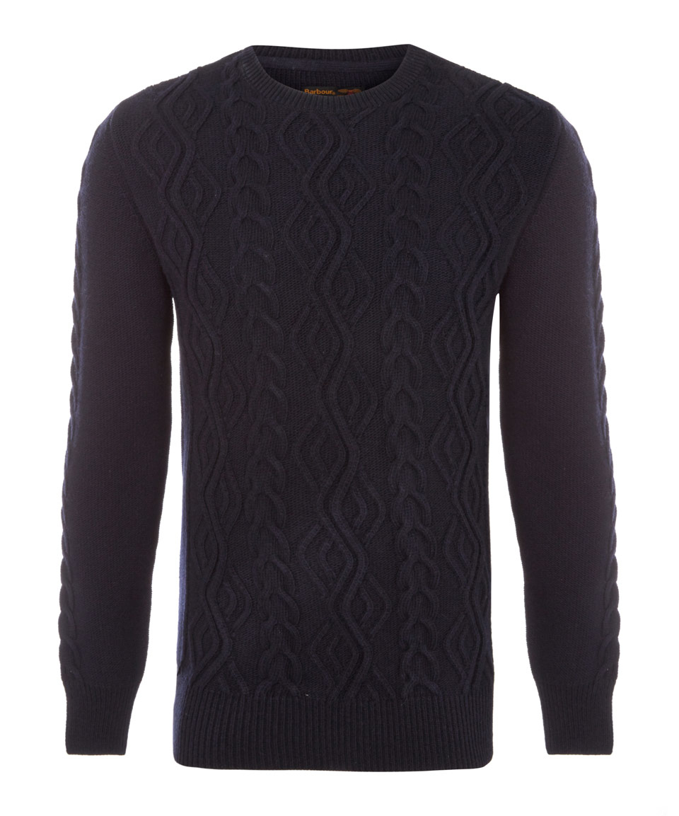 Barbour Navy Barnard Cable Knit Wool Jumper in Black for Men | Lyst