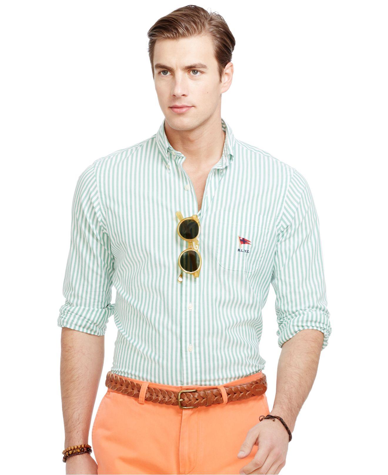 39db64dd21db9 ... shopping lyst polo ralph lauren striped oxford mercer shirt in green  for men ff54f dc0e6