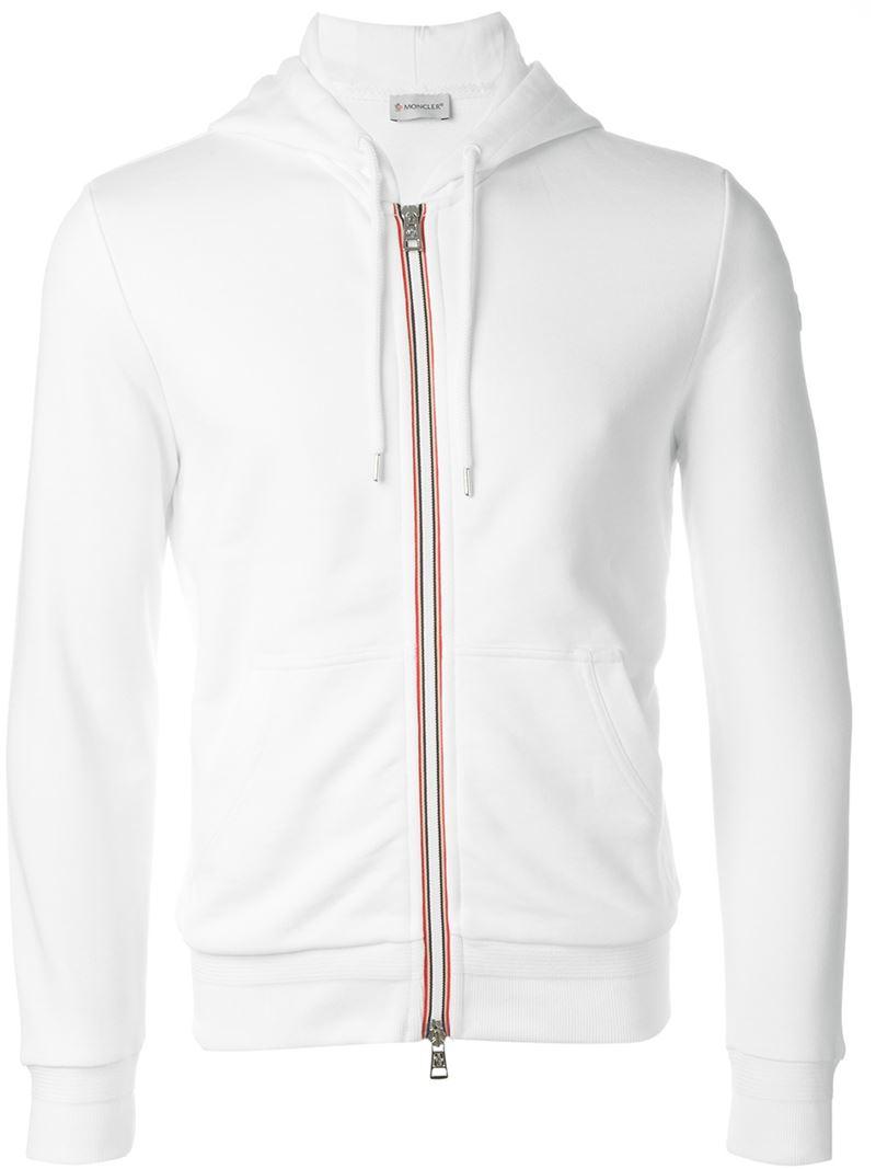 Moncler Hooded Sweatshirt in White for Men | Lyst