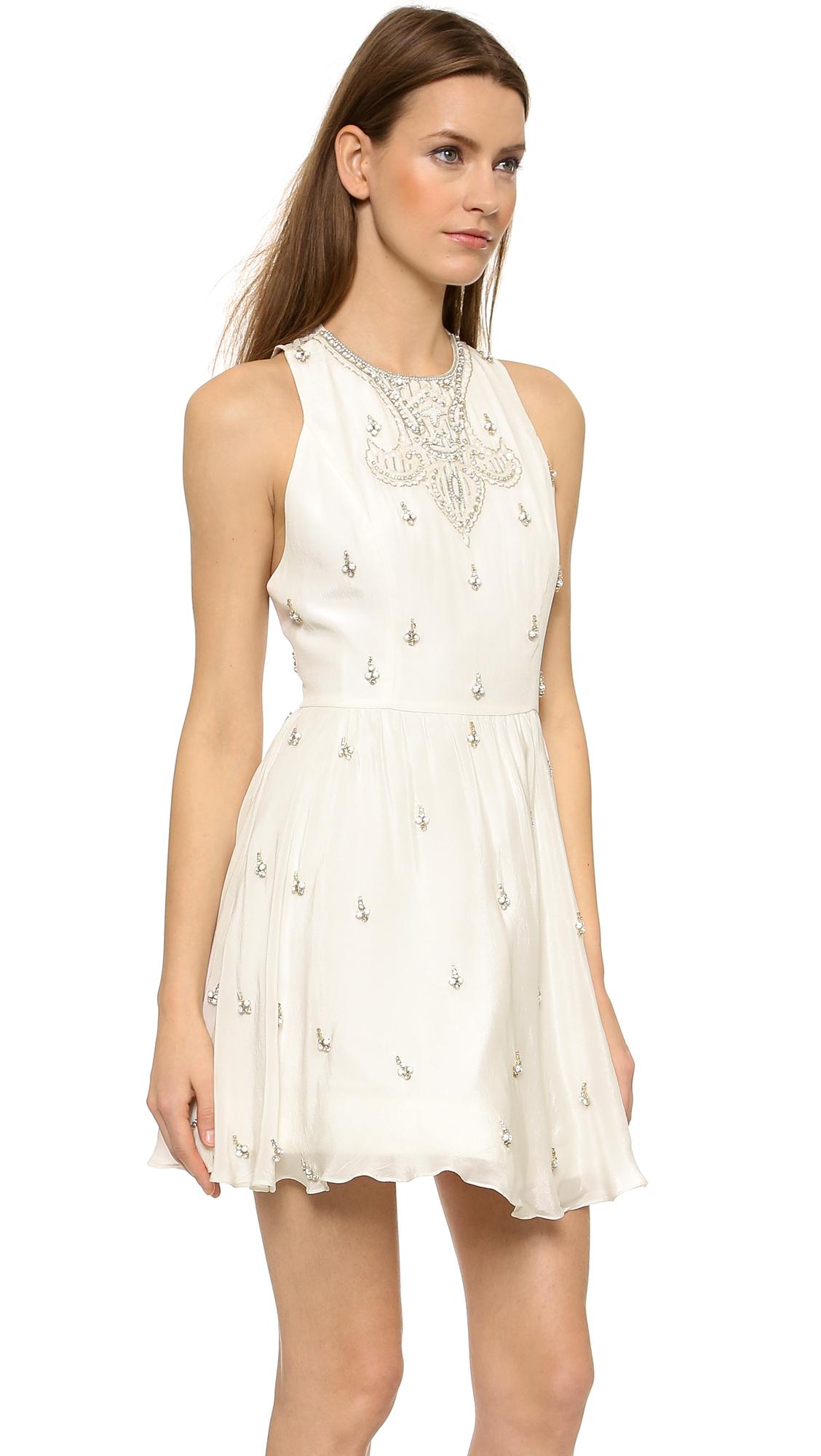 3088efce6f9 Alice + Olivia Gilda Embellished Lace Back Dress - Off White in ...