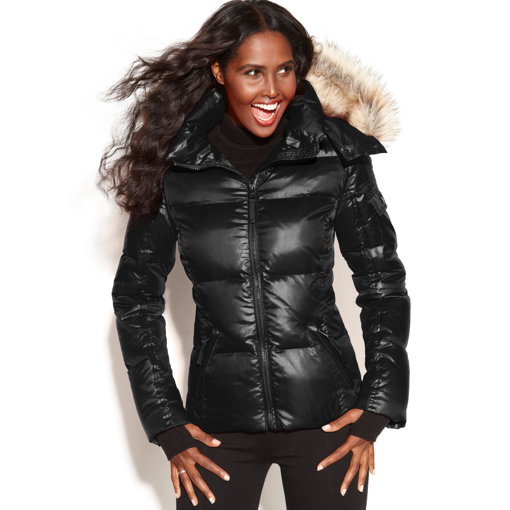 Puffer Jacket With Fur Hood - Jacket To-8704