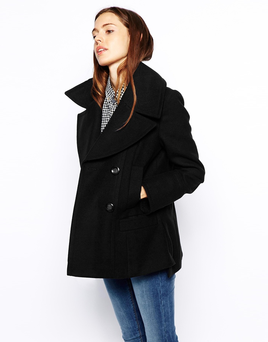 Asos Pea Coat in Black | Lyst
